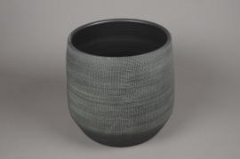 C260DQ Cache-pot en terre cuite gris vert D33 cm H34 cm
