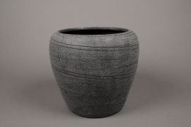 C269DQ Cache-pot en terre cuite gris D29cm H27cm