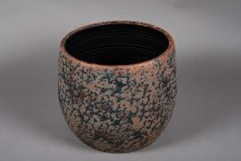 Cache pot en céramique noir et cuivre D35cm H32cm