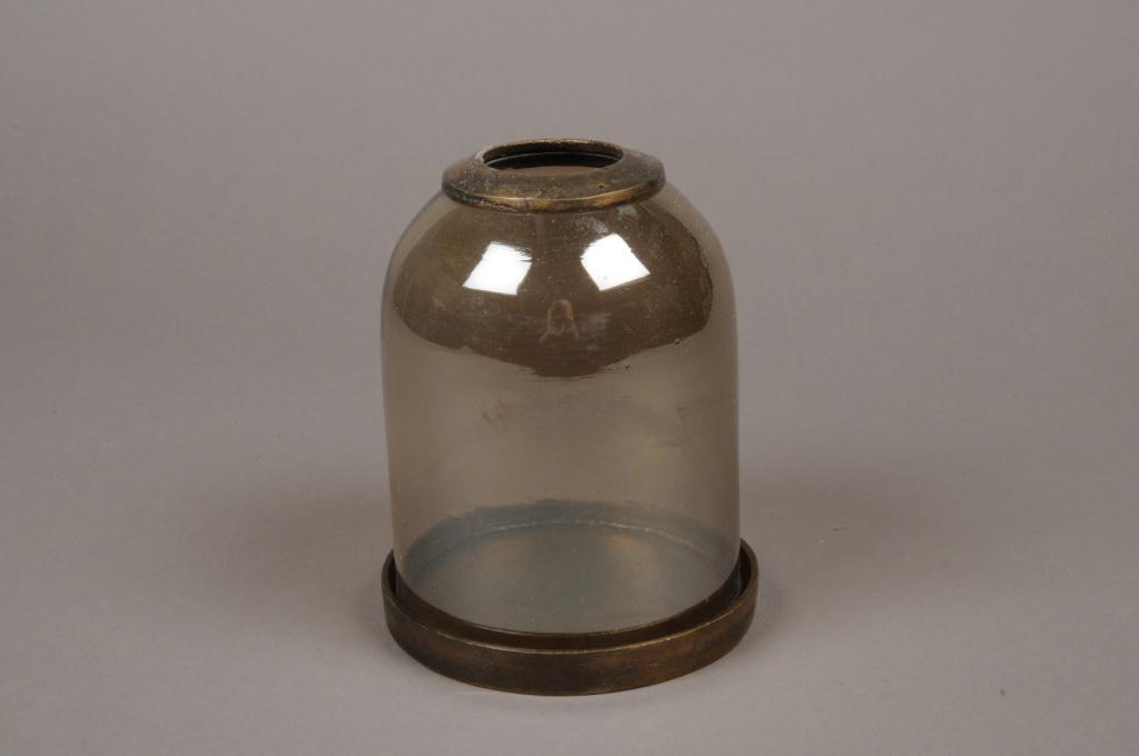 C276DQ Photophore en verre et laiton D13cm H16.5cm
