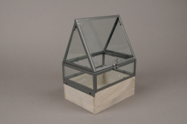 C280DQ Glass and wooden greenhouse 19.5cm x 15.5cm H28cm