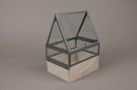 C280DQ Serre en bois et verre 19.5cm x 15.5cm H28cm