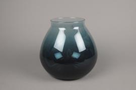 C282DQ Vase boule en verre bleu D24cm H24cm
