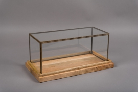 C283DQ Glass and wooden greenhouse 20cm x 39cm H17.5cm