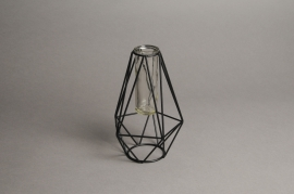 C285DQ Glass vase black support D3cm H23.5cm