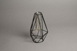 C285DQ Vase tube en verre structure noir D3cm H23.5cm