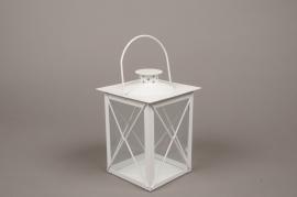 C300DQ Lanterne en métal blanc 12x12cm H21cm