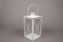 C301DQ Lanterne en métal blanc 15x15cm H30cm