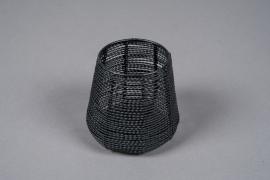 C309DQ Photophore en métal noir D11cm H10cm