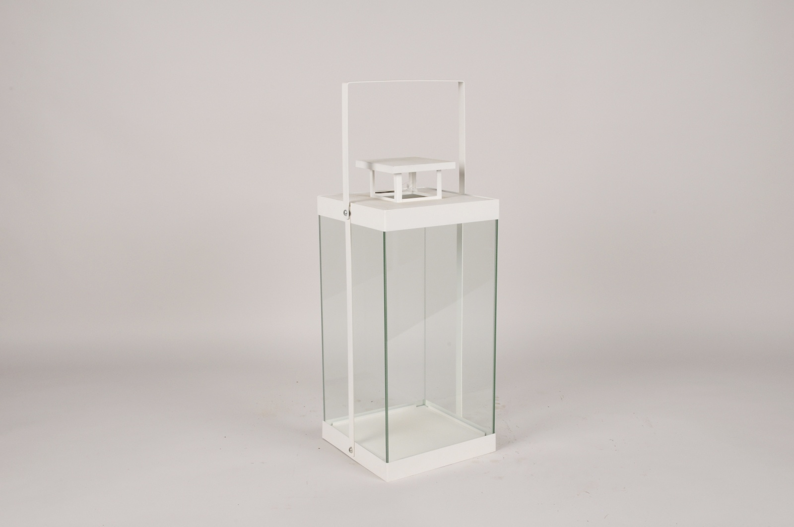 C312DQ Lanterne en métal blanc 20x20cm H57cm