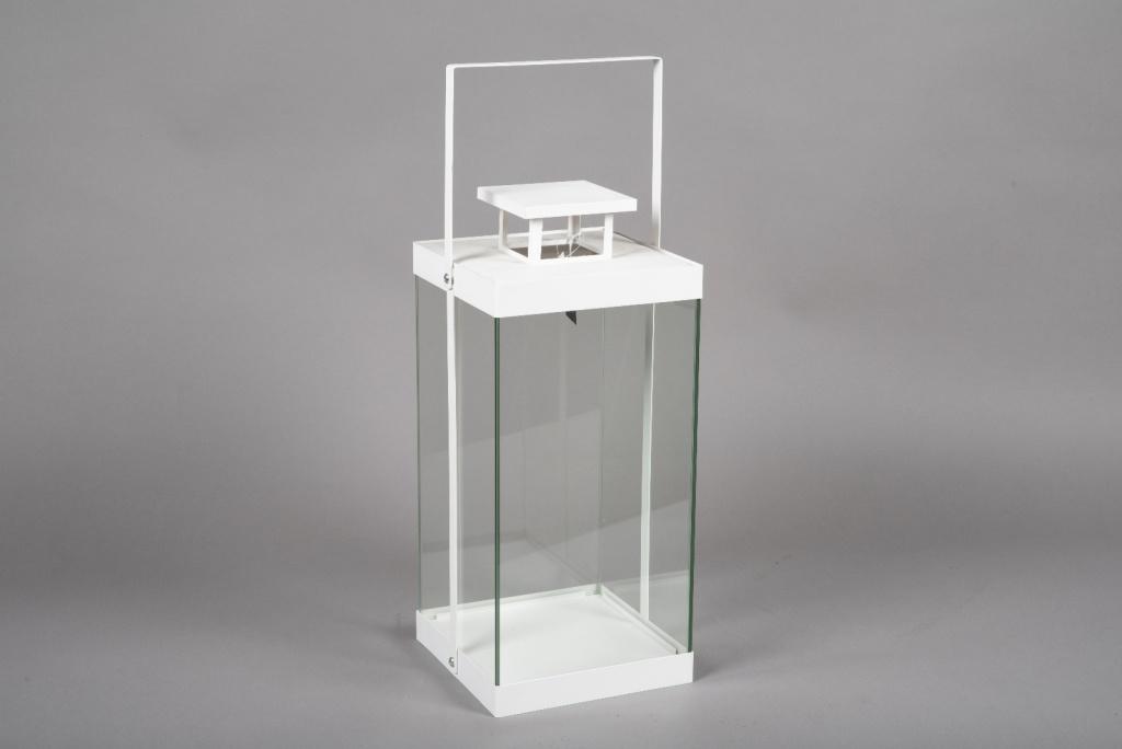 C313DQ Lanterne en métal blanc 15cm x 15cm H26.5cm