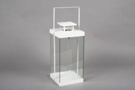 C313DQ White metal lantern 15cm x 15cm H26.5cm