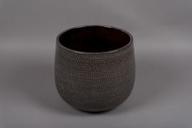 C317DQ Cache-pot en céramique gris D26cm H25.5cm
