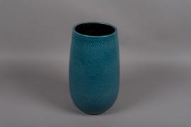 C322DQ Vase en céramique bleu D20cm H35.5cm