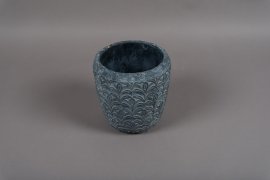 C327DQ Blue grey terracotta planter D16.5cm H16cm