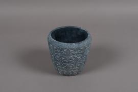 C328DQ Cache-pot en terre cuite gris bleu D19cm H20cm