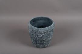 C329DQ Cache-pot en terre cuite gris bleu D23.5cm H24.5cm