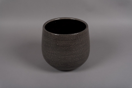 C376DQ Cache-pot en céramique gris D19.5cm H19.5cm