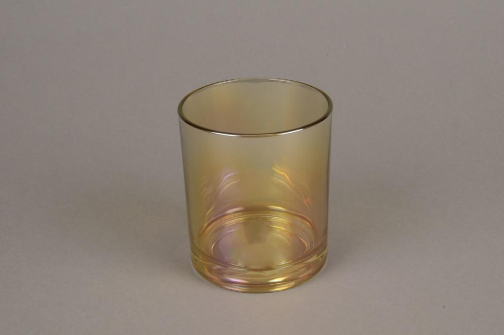 C381DQ Photophore en verre or D9cm H10cm