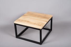 C399DQ Table basse bois et métal 40cm x 40cm H26.5cm