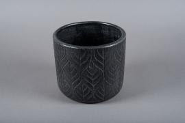 C404DQ Cache-pot en céramique noir D21cm H20cm