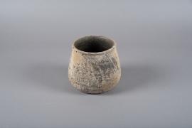 C406DQ Cache-pot en terre cuite marron D16cm H16cm