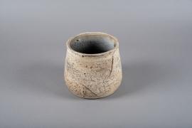 C407DQ Cache-pot en terre cuite marron D18cm H17cm