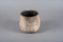 C410DQ Cache-pot en terre cuite marron D18.5cm H17.5cm