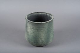 C413DQ Cache-pot en terre cuite vert D22cm H22cm