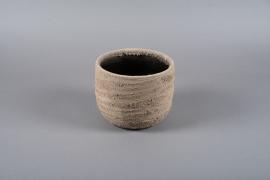 C416DQ Cache-pot en terre cuite taupe D21cm H17cm