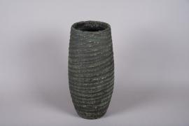 C422DQ Vase en terre cuite vert D22cm H55cm