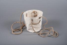 C427DQ Set de 3 Caches-pots en toile de jute D17cm H17cm