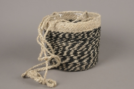 C478DQ Cache-pot en fibres à suspendre noir D18cm H18cm