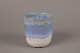 C482DQ Blue ceramic planter pot  D11cm H12cm