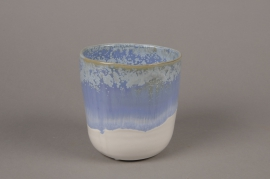 C482DQ Cache-pot en céramique bleu D11cm H12cm