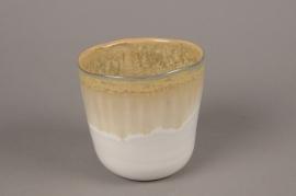 C483DQ Yellow ceramic planter pot  D11cm H12cm