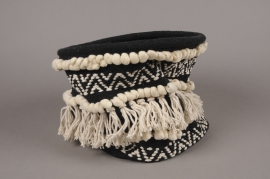 C485DQ Cache-pot en tissu noir et blanc D25cm H23cm