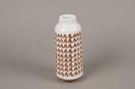 C487DQ Vase en céramique blanc D9cm H23cm