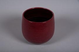 C490DQ Cache-pot céramique rose D22cm H21cm