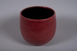 C491DQ Cache-pot céramique rose D26.5cm H25.5cm