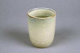 C495DQ Cache-pot en céramique beige D8cm H10cm