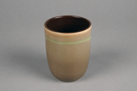 C496DQ Brown ceramic planter D8cm H10cm