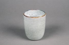 C498DQ Cache-pot en céramique gris D8cm H10cm