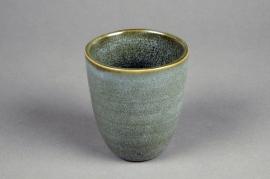 C501DQ Cache-pot en céramique vert D8.5cm H10cm
