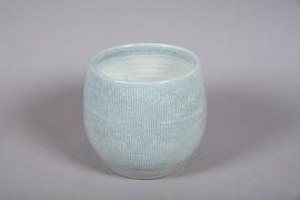 C506DQ Cache-pot céramique bleu D29cm H26cm