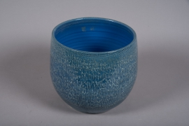 C510DQ Cache-pot céramique bleu D17cm H16.5cm