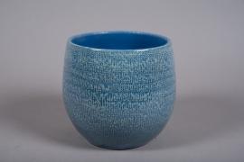 C511DQ Cache-pot céramique bleu D21cm H21.5cm