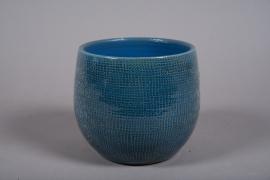 C512DQ Cache-pot céramique bleu D27cm H26cm