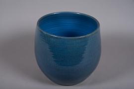 C513DQ Cache-pot céramique bleu D30cm H30cm