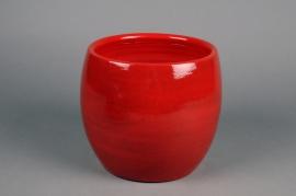 C517DQ Cache-pot en céramique rouge D22cm H19cm